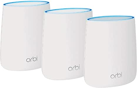 NETGEAR Orbi ( RBK23 ) Tri-band Whole Home Mesh WiFi System with 2.2Gbps speed Router & Extender replacement covers up to 6,000 sq. ft., 3-pack includes 1 router & 2 satellites