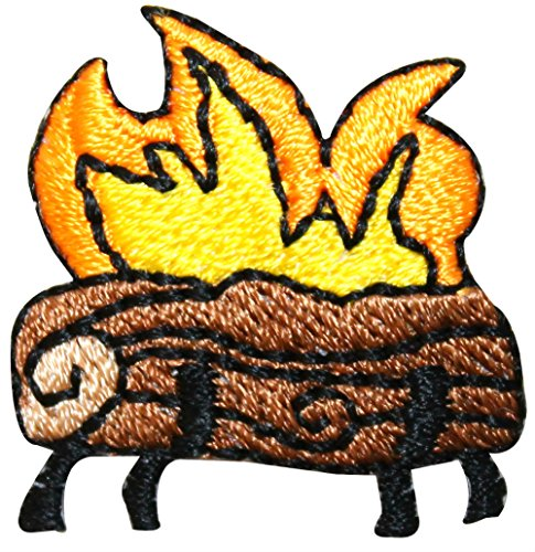 "[Single Count] Custom and Unique (1 1/4"" Inches) Summer Months Campsite Camping Outdoors Campfire Iron On Embroidered Applique Patch {Brown, Yellow, and Black Colors}"