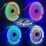 HKBAYI 4M 5V 60Leds/M 240pixels programmable WS2812B RGB 5050 LED strip Individually addressable dream color Waterproof IP67 PCB Black