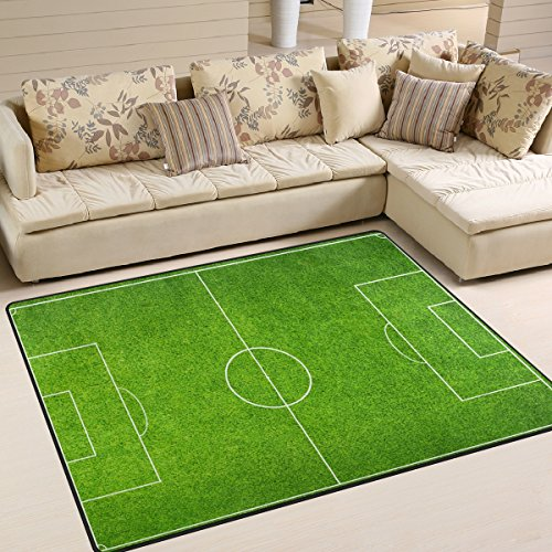 (ALAZA Soccer Green Football Stadium Area Rug Rugs Mat for Living Room Bedroom 7'x5')