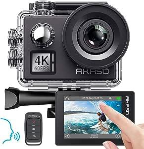 AKASO Action Cam 4K/60fps/Action Camera 20MP WiFi met touchscreen EIS 40M onderwater camera V50 Elite met 8X Zoom Spraakbediening Afstandsbediening Accessoires Kit Sportcamera, V50 Elite, V50 Elite