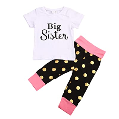 Ma&Baby Kids Baby Girls Big Sister T-shirt Tops Polka Dot Pants Bowknot Outfits Set