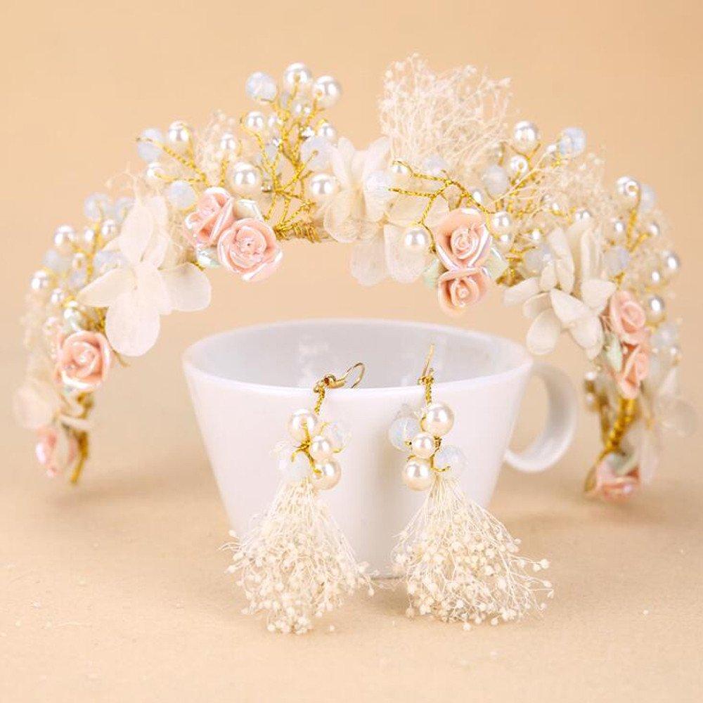 KHSKX-Die Braut Kopfschmuck Krone Hand Koreanischen Haar Schmuck Keramik - Blume Floral - Hochzeit Schicken Accessoires Heu Ohrringe