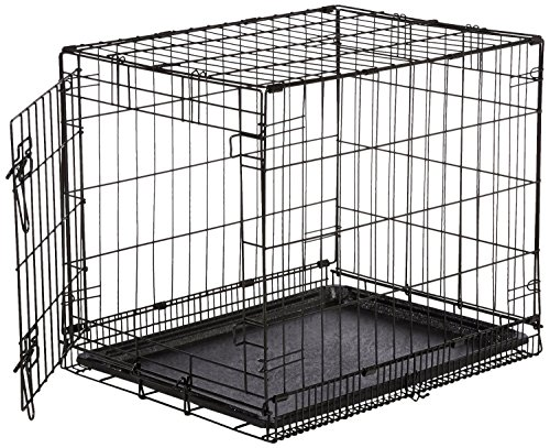 AmazonBasics Single-Door Dog Crate and Padded Bolster Bed - Small
