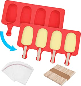 Tobepico 2 Pack Popsicle Molds for Kids, Food Grade Silicone Ice Pop Molds 4 Cavities Cake Pop Mold ith 50 Wooden Sticks & 50 Parcel Bags for DIY Homemade Ice Cream