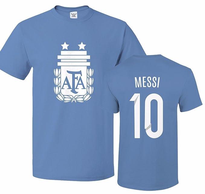 5f2355525 Tcamp Argentina Soccer Shirt Lionel Messi #10 Jersey Men T-shirt |  Amazon.com