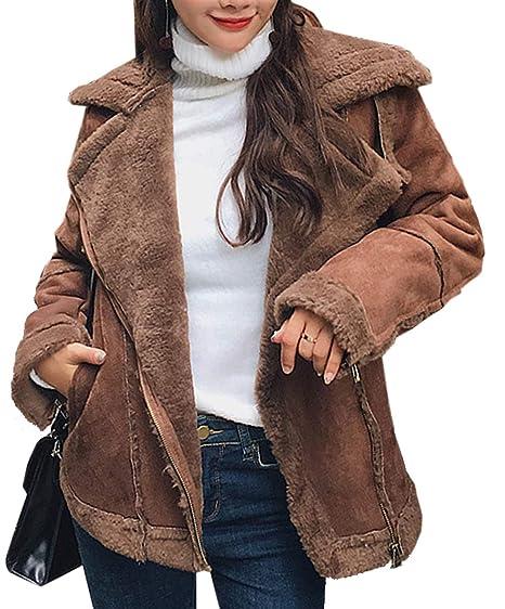 b2a140258 Aishang Women's Winter Warm Zipper Belted Faux Shearing Moto Jacket ...