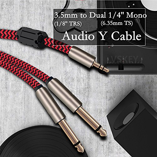 [3m 10feet] Stereo Audio 3.5mm to Dual 1/4'' Mono 6.35mm Male Plug Audio Cable for iPhone, iPod, Computer,Laptop Mixer Mixing Console Amplifier Wire Cords [Gold Plated Connector,OFC Copper Wire] by VSKEY (Image #6)