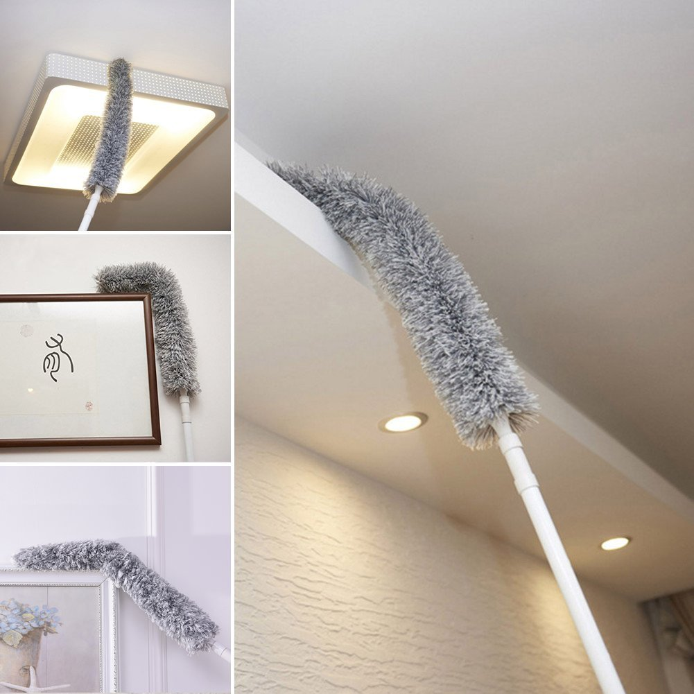 Best Microfiber Duster with Extension Pole Reach 50'' - 70'', Flexible, Bendable, Extendable for Interior Roof, Ceiling Fan, Cobweb Duster, Hypoallergenic Large Microfiber Head - Wet or Dry Use