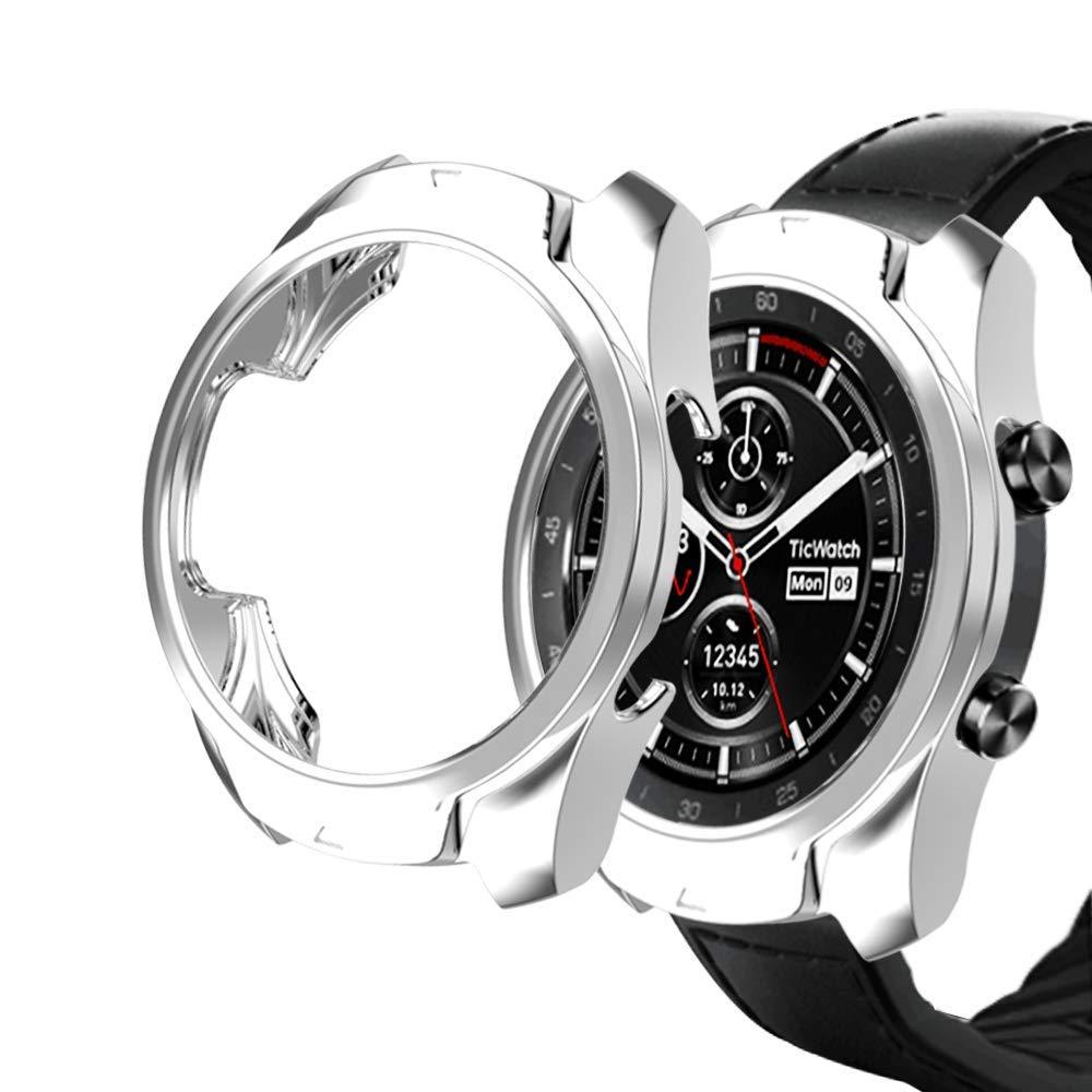 KTcos Compatible con Ticwatch Pro Funda, Slim Fit Funda Protectora Ultra Liviana de TPU Cubierta de Parachoques para Ticwatch Pro Smartwatch (Plata)