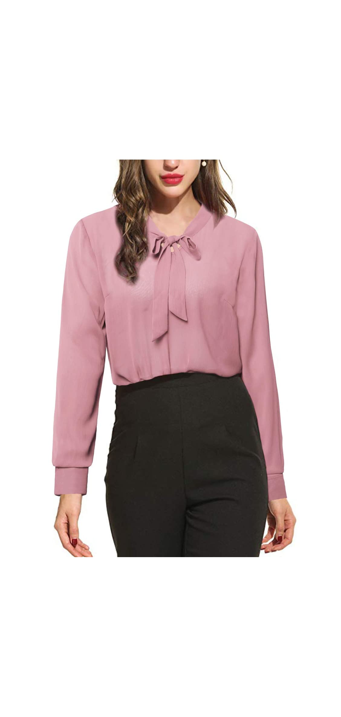 Womens Bow Tie Neck Long Sleeve Casual Office Work Blouse