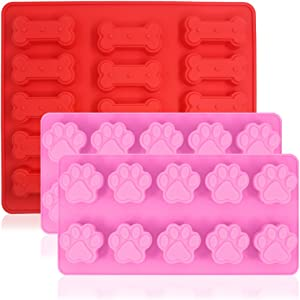 3 Pcs Silicone Molds Puppy Dog Paw & Bone Shaped, FineGood Reusable Ice Candy Trays Chocolate Cookies Baking Pans, Oven Microwave Freezer Dishwasher Safe, 15 and 10-Cavity - Red, Pink