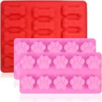 3 Pcs Silicone Molds Puppy Dog Paw & Bone Shaped, FineGood Reusable Ice Candy Trays Chocolate Cookies Baking Pans, Oven…