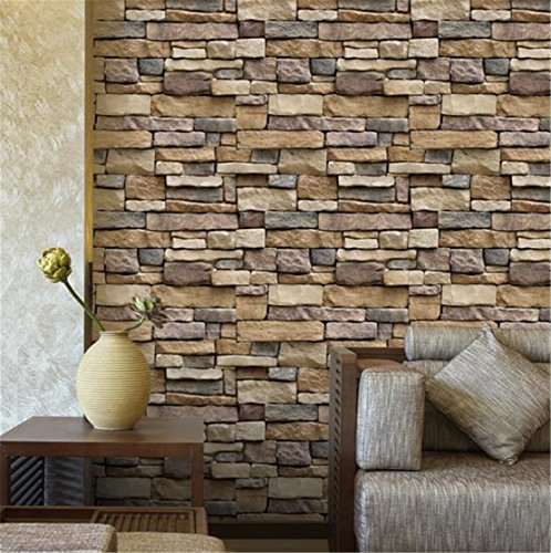 Heyuni. Vintage Brief Wall Sticker, Wall Bricks Rock Pattern Self Adhesive Waterproof Wallpaper for Bedroom Living Room Kitchen Furniture Dcor,10045cm