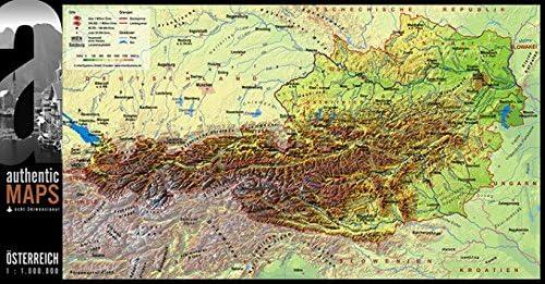 3d Landkarte Osterreich 67 5 X 35 Cm Karte Austria Amazon De