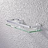 KES Aluminum Bathroom Glass Rectangular Shelf Wall Mounted Tempered Glass Extra Thick, Silver Sand Sprayed