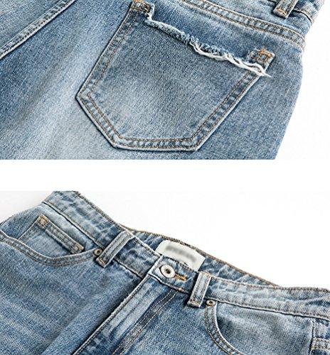 Droite Des Bleu Pantalon Mode La Dchir Jambe Jeans Femmes Distressed ZhiYuanAN En Denim Baggy De Large Boyfriend Clair Pantalons vqBtf8I
