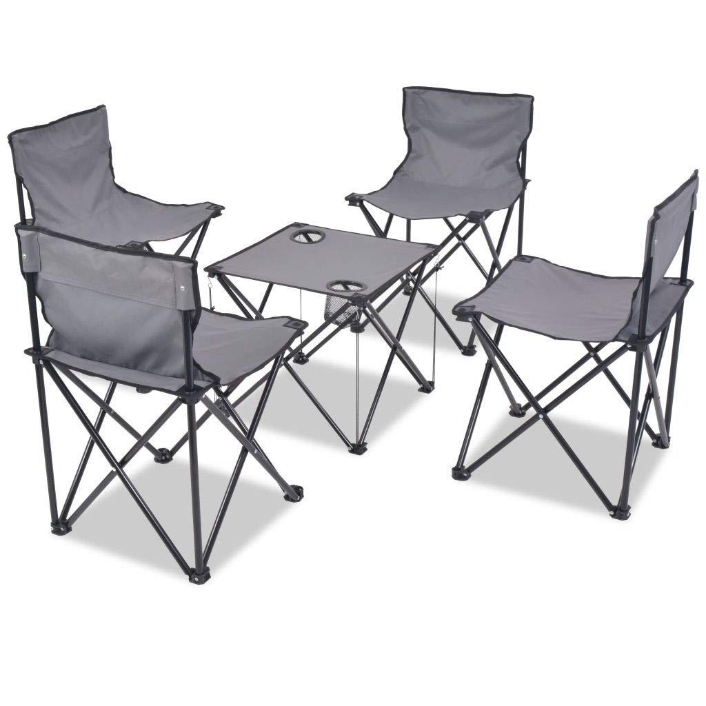 Binzhoueushopping Set Arredo Pieghevole Campeggio 5 pz Acciaio Grigio 45 x 45 x 70 cm sedie Campeggio