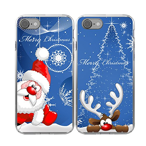 iPhone7 Couple Christmas Cases,TTOTT Christmas Gift 2X Floral Merry Christmas Santa Claus Deer New Fashion Snow Flakes Slim Bumper Anti Scratch Shockproof Matching Couple Cases for iPhone 7 4.7inch