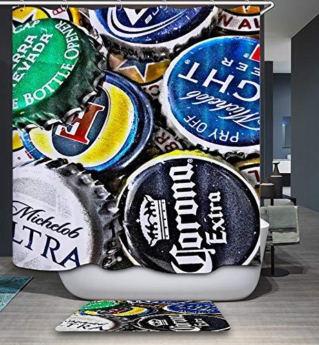 GoJjeek Beer Bottle Cap Collection Shower Curtain (72''' 72''') (Beer Shower Curtain)