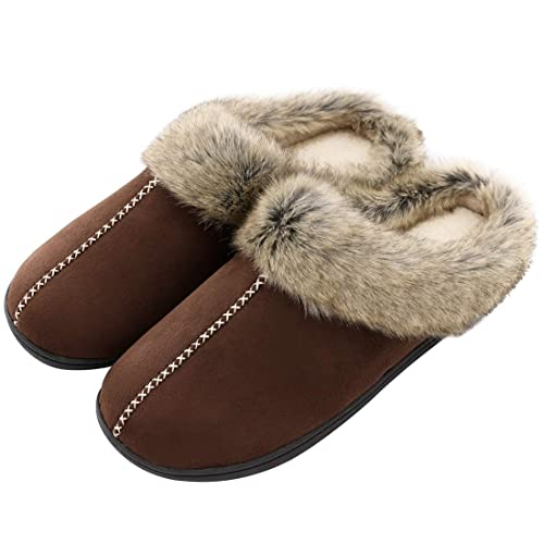 b9708b1da909 Men s Comfy Memory Foam Slippers Micro Suede Faux Fur Moccasins Soft Plush  Lined Home Office Shoes