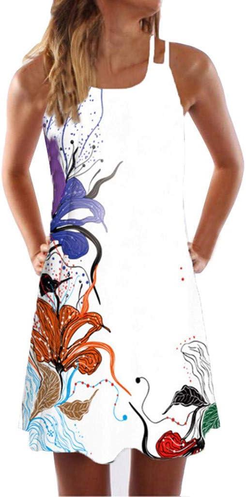 BeautyTop damska letnia sukienka bez rękawÓw, druk cyfrowy, kolorowa sukienka na czas wolny, seksowna kamizelka, minisukienka damska, casual, luźna, sukienka z nadrukiem, do kolan, letnia sukienka: Odzież