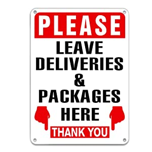 "XJF Please Leave Deliveries and Packages Here Sign,9.8""x 7"" Acrylic Warnning Sign for House, Home or Business"