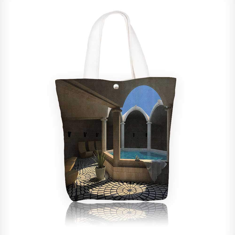 Canvas Tote Bag Inside Of Spa Hotel With Bathtub In The Circle Centre Trendy Therapy Leisure Zipper Closure Grocery Shopping Bag Shoulder Bag for Women Girls Students W11xH11xD3 INCH