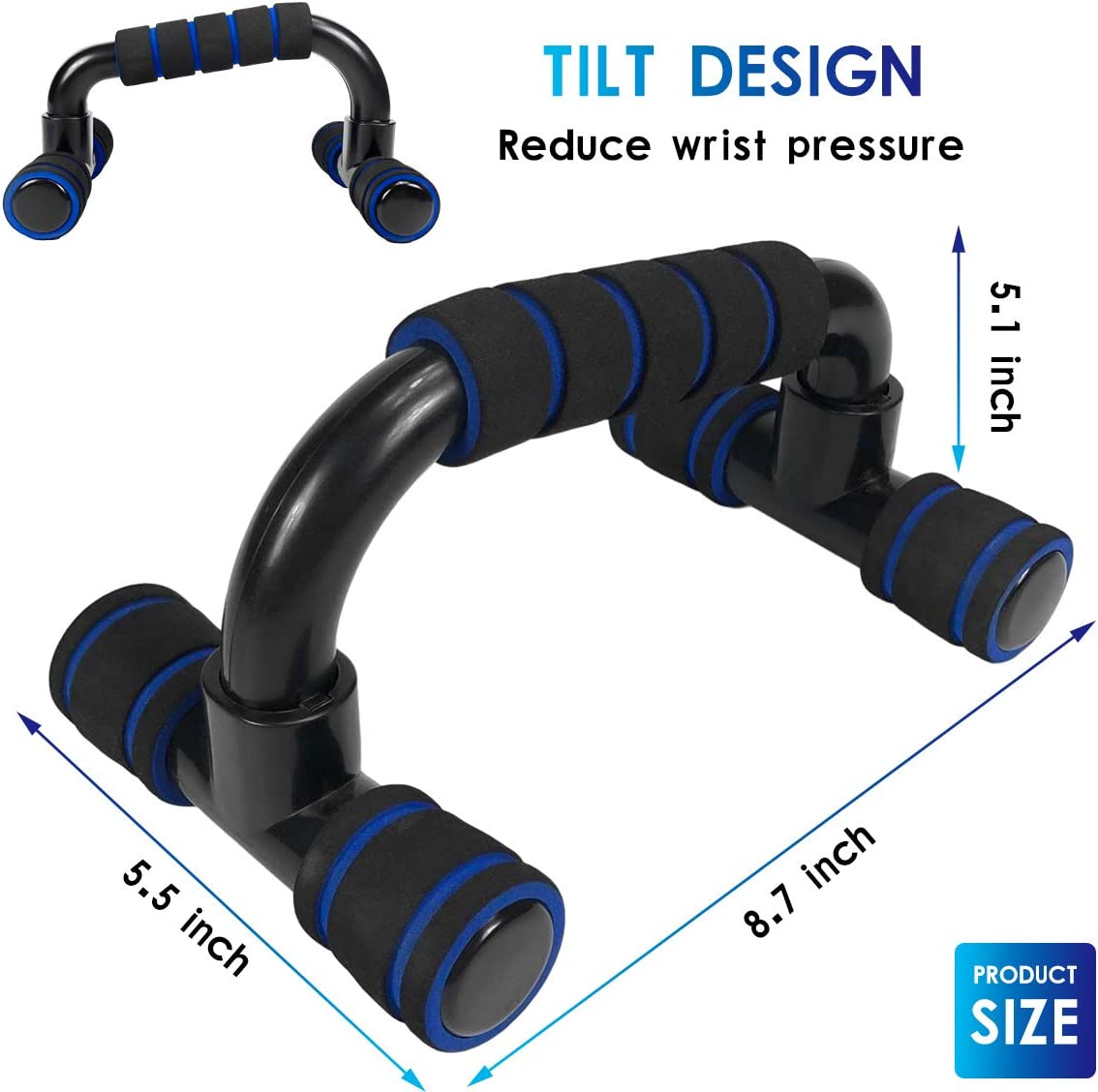 Jorohiker Push up Bars Pushup Handle Pushup Stands with Cushioned Foam Grip Muscle Strength Training Workout Stands for Floor Push-up Bracket for Men Home Gym Exercise