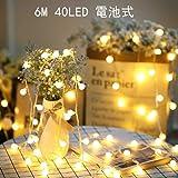 SFOUR フェアリーライト電飾led イルミネーションライト 電池式 クリスマス 飾りツリー led電球庭 ライト屋外防水イルミ室内枕元 ライト ledに適してベッドルーム|アウトドア|結婚式|庭対応|誕生日 (ウォームホワイト, 6M_40LED) (電球色)