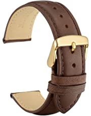 WOCCI Vintage Leather Watch Band with Gold Buckle, Replacement 18mm 19mm 20mm 21mm or 22mm Watch Strap