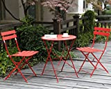 Image of Grand Patio Premium Steel Patio Bistro Set, Folding Outdoor Patio Furniture Sets, 3 Piece Patio Set of Foldable Patio Table and Chairs, Red