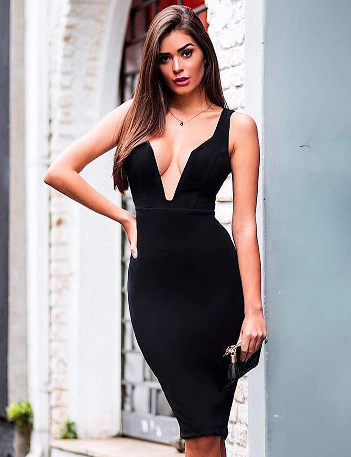 44d3f30e446 Hego Women's Black One Shoulder Ruffles Bandage Bodycon Club Night Out  Dresses for Special Occasion H5630