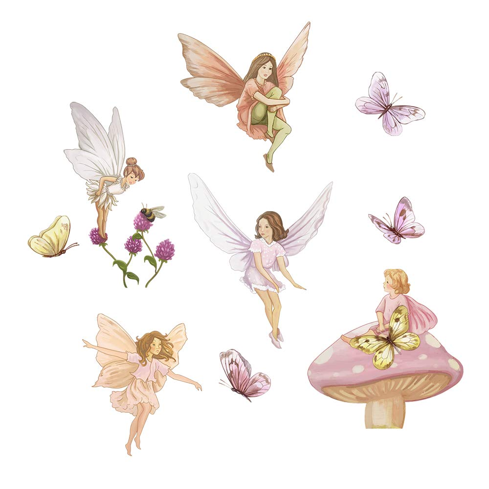 Fairies Wall Decals with Wings Butterflies Stickers Removable Wall Art for Girls Room Kids Bedroom Nursery Baby Room Yanfeng
