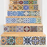 Y-Step Stair Stickers, Backsplash Tile Stickers Traditional Mexican Staircase Tile Decals Removable Waterproof Stair Wall Mural Home Decor 39.3'' x 7'' x 6PCS