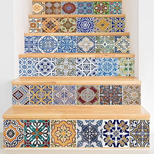 Y-Step Stair Stickers, Backsplash Tile Stickers Traditional Mexican Staircase Tile Decals Removable Waterproof Stair Wall Mural Home Decor 39.3'' x 7'' x 6PCS by Y-Step
