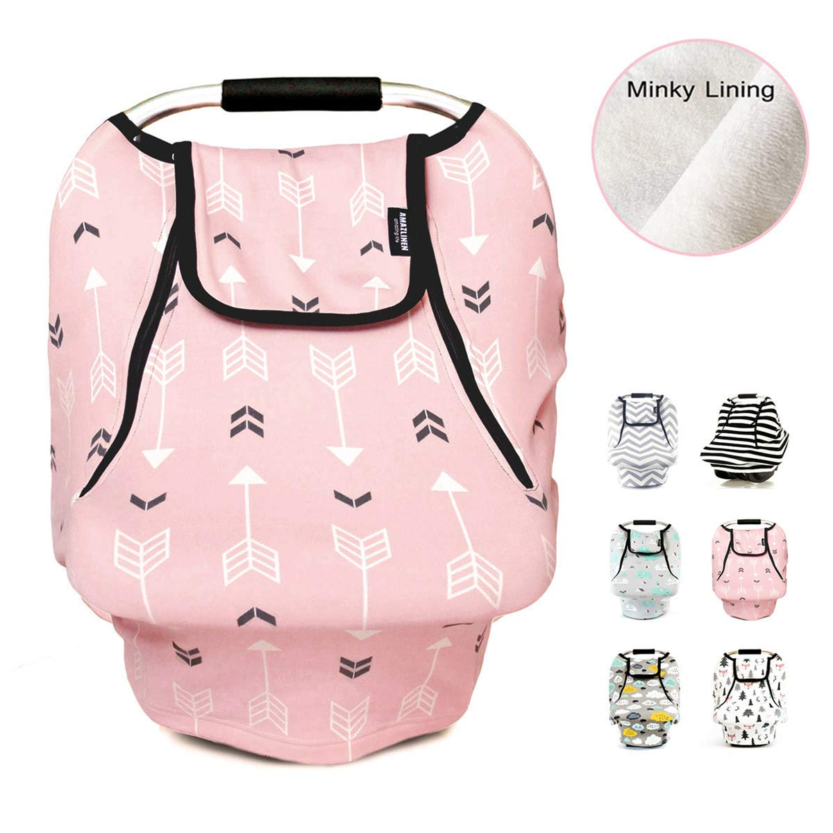 Infant Car Canopy Spring Autumn Winter,Snug Warm Breathable Windproof Adjustable Peep Window,Insect Free,Universal Fit,Pink Arrowshower Stretchy Baby Car Seat Covers for Boys Girls