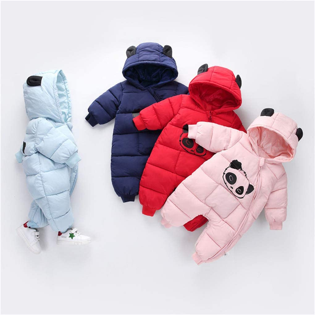 SWEETHA Newborn Baby Clothes Boy Girl Cartoon Panda Winter Warm Rompers Zipper Thick Jumpsuit