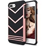 iPhone 7 Plus Case, Mothca 2 in 1 Classic Sporty [Anti-Slip] Case Rugged Bumper [Shock-Absorption] Case Slim Non-Gap Fit for iPhone 7 Plus Only (Rose Gold Black)