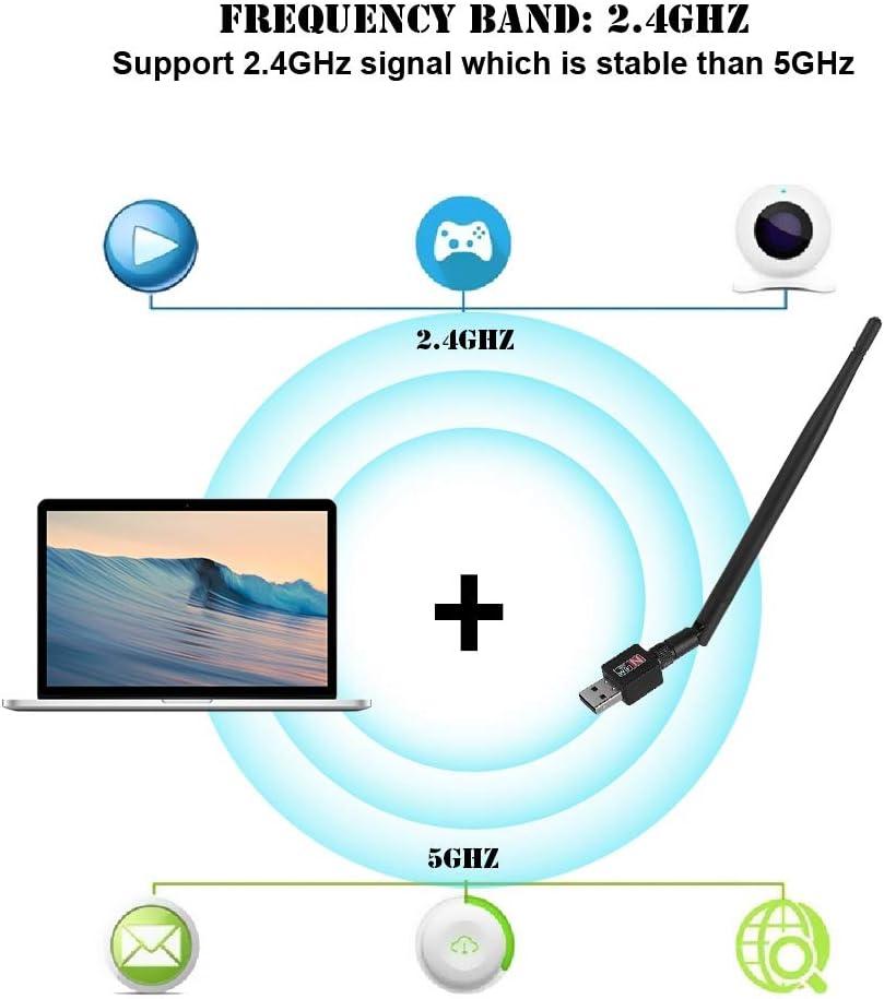 Bewinner WiFi USB Adapter,USB Wireless Network Card WiFi 2.4Ghz Signal Transmitter Receiver Adapter with Antenna,15cm High Antenna for Enhanced Signal