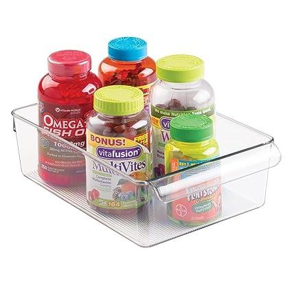 mDesign Organizador de plástico multiuso para medicamentos, vitaminas, suplementos y más - Práctica caja