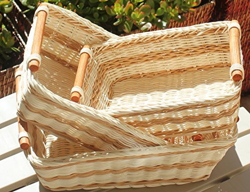 RT430712-3 Rectangular Wicker/Rattan Bread or Storage Baskets in Cream and Brown with Pole Handles (3 Bread)