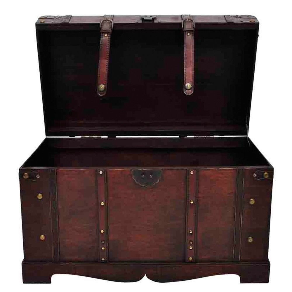 Vintage Antique Style Large Wooden Treasure Storage Trunk Blanket Steamer Chest Daily Steals