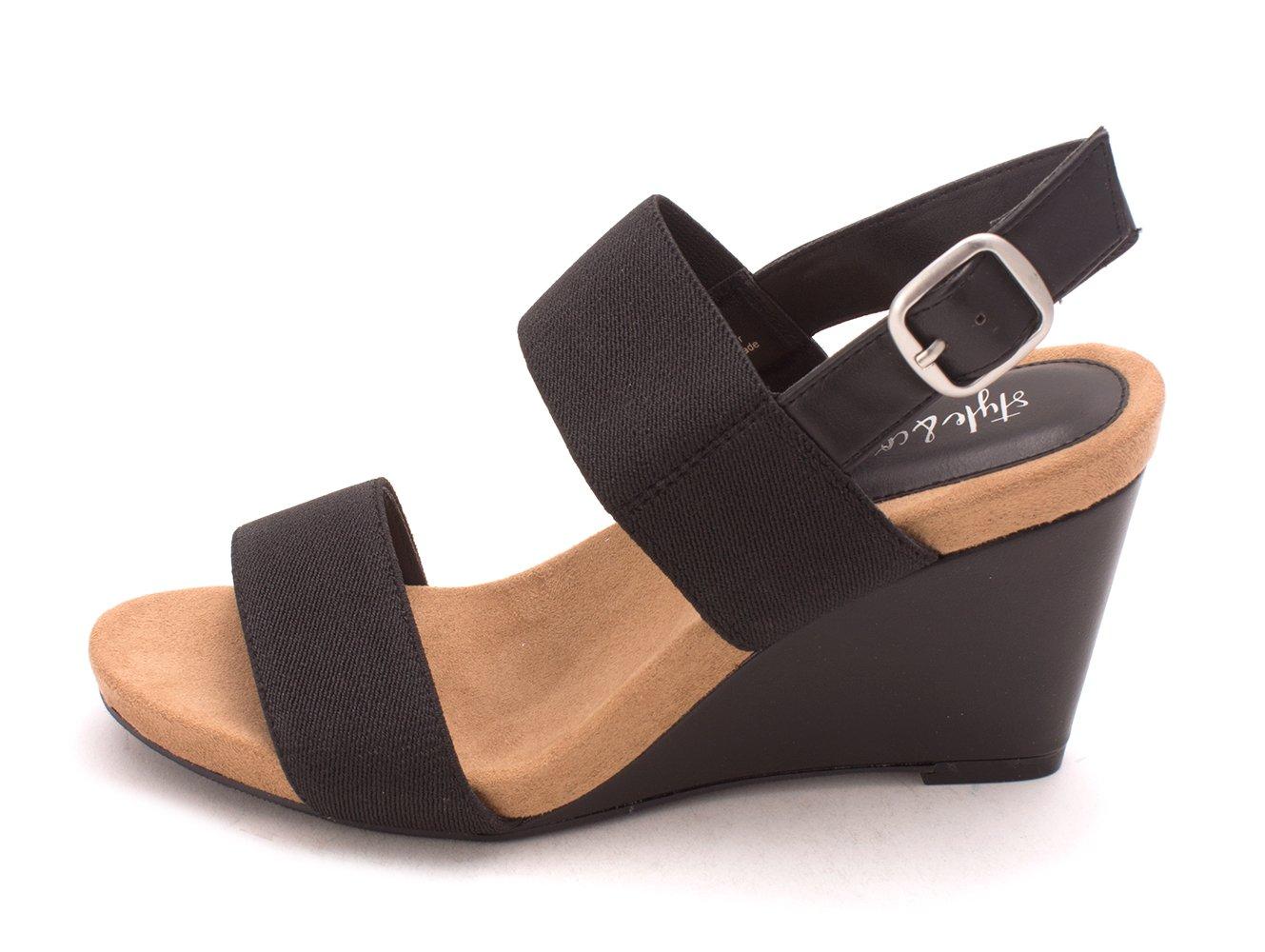 Style & Co. Womens Fillipi Open Toe Casual Platform Sandals, Black, Size 9.0