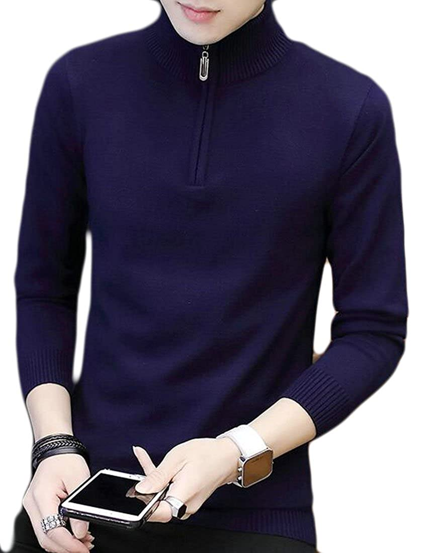 ONTBYB Mens Long Sleeve Quarter Zip Mock-Neck Sweater Pullover Tops