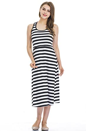 8f059af61a14b3 Modern Mummy Women s Sleeveless Maternity Dress Striped Nursing  Breastfeeding Dress Black Medium