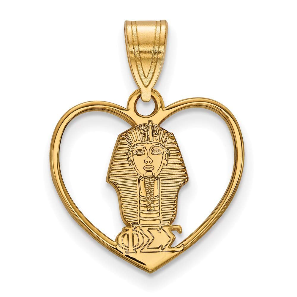 Roy Rose Jewelry Sterling Silver with 14K Yellow Gold-plated LogoArt Phi Sigma Sigma Heart Pendant