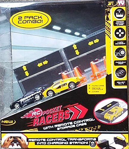 Seen Tv Toys (As Seen on TV RC - Pocket Racers With Remote Control Storage Case Micro Race Cars Vehicle - 2 PACK COMBO)
