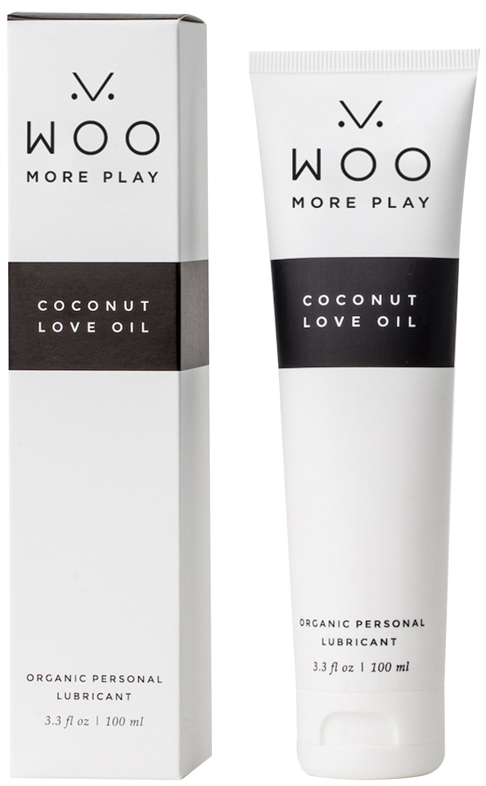 Lubricant - Woo More Play Coconut Love Oil (3.3 oz) - Designed With Feminine Sensuality in Mind - pH Balanced - All-Natural Ingredients - Made to Moisturize and Excite - Organic - Raw - Non-GMO