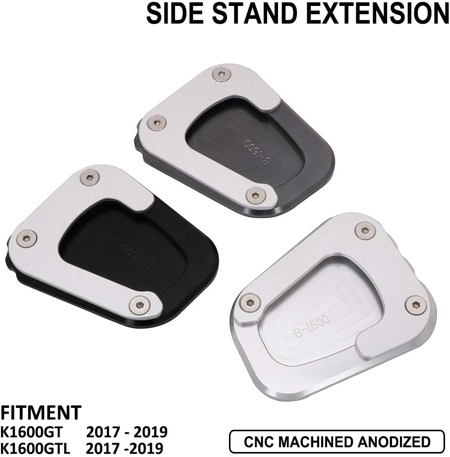 AnXin Motorcycle Kickstand Foot Side Stand Extension Pad Support Plate For BMW K1600GT K1600GTL 2017 2018 2019 Black